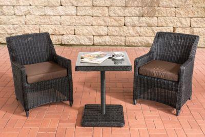 CLP Gartengarnitur ARMETTA Balkon-Sitzgruppe mit 2 Sitzplätzen Gartenmöbel-Set aus Polyrattan Komplett-Set mit 2 Gartenstühlen und einem Tisch In verschiedenen Farben erhältlich | Garten > Balkon > Balkontische | Polyrattan | CLP