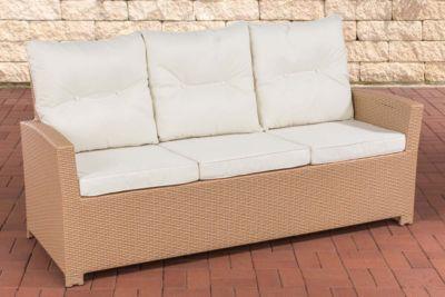 Polyrattan Sofa FISOLO mit 3 Sitzplätzen I Gartensofa mit stabilem Aluminium-Gestell I Couch mit Polsterauflagen I In verschiedenen Farben erhältlich