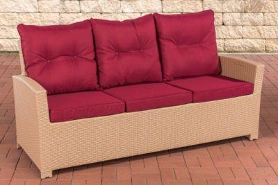 Polyrattan-Sofa FISOLO mit drei Sitzplätzen I Gartensofa mit stabilem Untergestell aus Aluminium I Couch mit Kissen und Polsterauflagen I In verschiedenen Farben erhältlich
