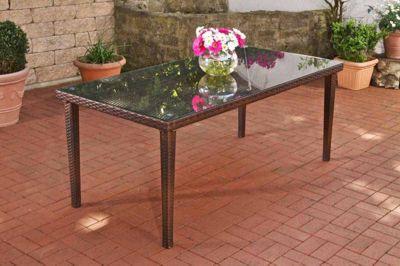 Poly-Rattan Garten-Tisch BONDY, Esstisch 180 x 90 x 75 cm, mit Glasplatte, ideal für 6 Stühle, bis zu 3 Farben wählbar