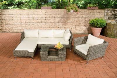 Polyrattan Gartengarnitur MOSS grau-meliert, 5 mm Rund-Rattan, Premiumqualität, 4 Sitzplätze inkl. Sitzpolster & Kissen