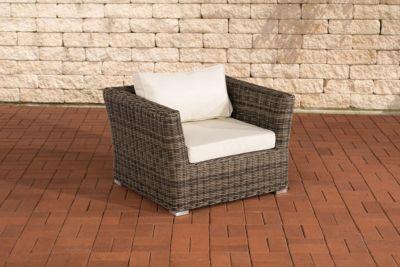 Polyrattan Sessel MANDAL mit GRATIS Sitz- und Rückenkissen, 5mm Rundrattan, ALU Gestell, 100% rostfrei
