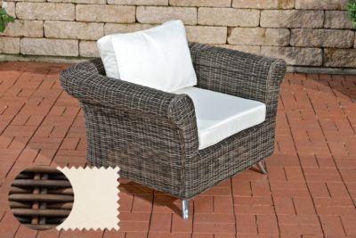CLP Polyrattan-Sessel VIVARI mit Sitz- und Rückenkissen Outdoor-Stuhl mit robustem Untergestell aus Aluminium In verschiedenen Farben erhältlich   Wohnzimmer > Sessel > Rattansessel   Polyrattan   CLP