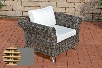 CLP Polyrattan-Sessel VIVARI mit Sitz- und Rückenkissen Outdoor-Stuhl mit  robustem Untergestell aus Aluminium In verschiedenen Farben erhältlich