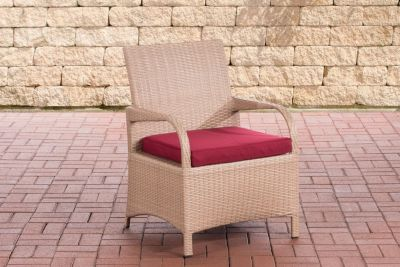 CLP Polyrattan-Gartenstuhl PIZZO mit Sitzkissen I Outdoor-Stuhl mit robustem Untergestell aus Aluminium   Wohnzimmer > Sessel > Rattansessel   Polyrattan   CLP