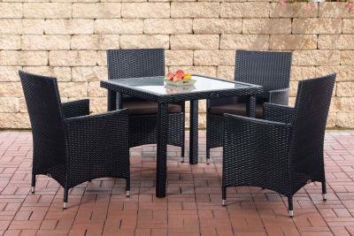 CLP Balkon-Sitzgruppe RIO aus Polyrattan Gartengarnitur mit Aluminiumgestell Outdoor-Möbel für Balkon und Terrasse Wetterfester Tisch mit Stühlen In verschiedenen Farben erhältlich | Garten > Balkon > Balkontische | Polyrattan | CLP