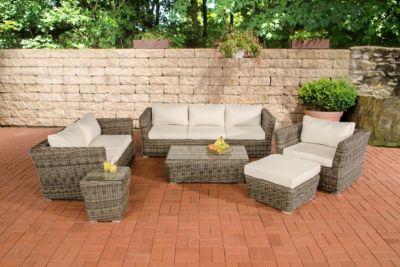 Gartengarnitur MANDAL grau-meliert aus Polyrattan (6 Sitzplätze: 3-2-1) Premiumqualität (5 mm Rund-Rattan) inkl. Polster