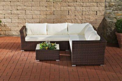 CLP 12 teiliges Set: Gartengarnitur TERRA aus Aluminium & Polyrattan (5 Sitzplätze) inkl. Polstern & Kissen