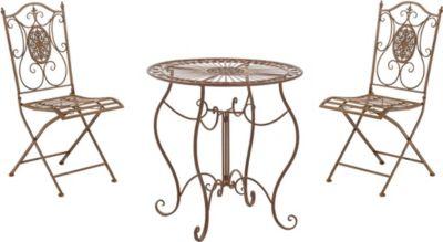 CLP Garten-Sitzgruppe ALDEANO aus Eisen I 2x Klappstuhl und 1x Tisch aus Eisen I Pflegeleichte Gartenmöbel im Jugendstil