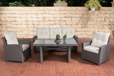 CLP Garten-Garnitur FISOLO, Poly-Rattan Essgruppe, 25 FARB-Varianten (3er Sofa + 2 Sessel + Esstisch 140 x 80 cm)