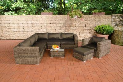 CLP Polyrattan - Gartenlounge ARIANO inklusive Polsterauflagen Garten-Set bestehend aus einem Ecksofa, einem Sessel, einem Hocker und einem Loungetisch In verschiedenen Farben erhältlich