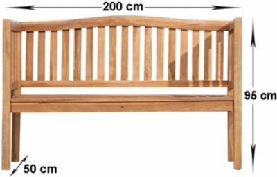 wetterfeste Teak Gartenbank MARVEL aus massivem Teakholz (bis zu 5 Größen wählbar)