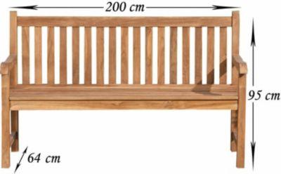 wetterfeste Teak-Gartenbank CALYPSO aus massivem Teakholz, bis zu 5 Größen wählbar