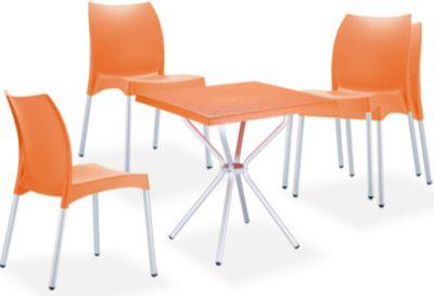 Garten Sitzgruppe RONDA, 4 stapelbare Gartenstühle Vita + 1 quadratischer Gartentisch 70 x 70 cm - leicht, stabil & wetterfest