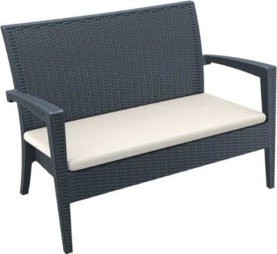 CLP 2er Rattan Garten Lounge-Sofa MIAMI, ca. 130 x 80 cm, Vollkunststoff in Rattan-Optik, mit Sitzkissen, Farbwahl