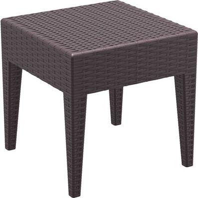 Design Garten Beistell-Tisch MIAMI 45 x 45 cm, Kunststoff, Rattan Optik, stapelbar, Sonnenliegen-Beistelltisch Höhe 45 c