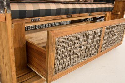 XXL Luxus Teakholz Strandkorb HELGOLAND mit GRATIS Kissen, 160 cm Breit