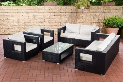 5-teiliges Poly-Rattan Lounge-Set HONOLULU: 3er Sofa, 2er Sofa, 2 Sessel, Tisch 100x85 cm, Polster & Kissen