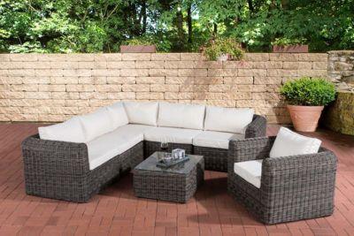 Luxus Polyrattan Gartengarnitur MARBELLA, aus 5 mm Rund-Rattan, mit Aluminiumgestell (5er Sofa, Sessel, Tisch 70 x 60 cm