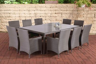 Poly Rattan Garten Sitzgruppe TROPEA (10 X Polyrattan Stuhl Julia + Tisch  210 X 50 Cm) INKL. Bequemen Sitzauflagen, 4 Rattan Farben Wählbar
