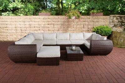 Poly-Rattan Gartengarnitur GIBRALTAR, Aluminiumgestell (2er Sofa + Ecksofa + Mittelsofa + Fußhocker + Tisch 82 x 57cm + 10 cm dicke Polster + Kissen)