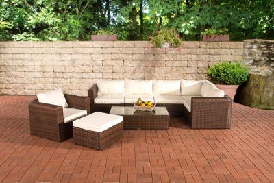17 teiliges Poly-Rattan Lounge Set PARADISO, Aluminium-Gestell (5er Sofa + Sessel + Hocker + Tisch 110 x 60cm + 10 cm Polster / Kissen)