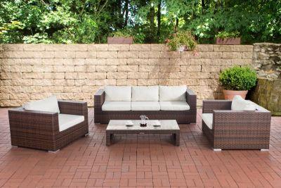 14 teiliges Set: Polyrattan Gartengarnitur CASABLANCA, mit Aluminiumgestell (3er Sofa + 2 Sessel + Tisch 120 x 64cm + Kissen)