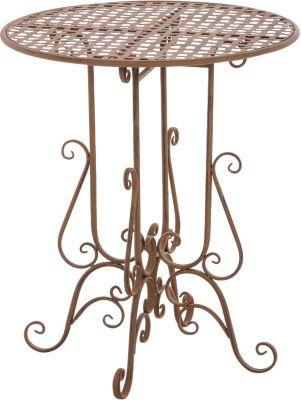Eisentisch MATIN rund Ø 60 cm, Höhe 70 cm, Metall Gartentisch, Design nostalgisch antik