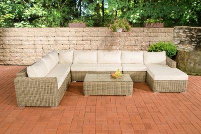 CLP Gartengarnitur TESSERA natura aus Polyrattan (6 Sitzplätze) Premiumqualität (5 mm Rund-Rattan) inkl. Polstern & Kissen