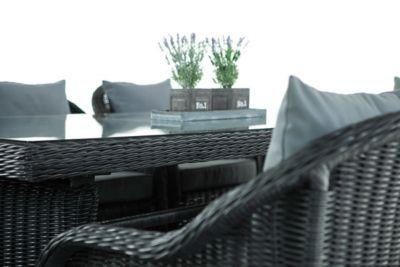 Polyrattan Sitzgruppe LAVELLO XL schwarz, Tisch 200 x 90 cm + 8 Sessel inkl. Sitz- und Rückenkissen