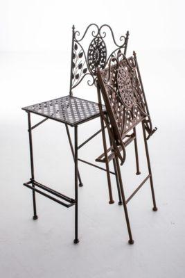 Garten Barstuhl BEGONA, klappbar, Eisen Barhocker, Sitzhöhe 72 cm, handgefertigt, Design nostalgisch antik