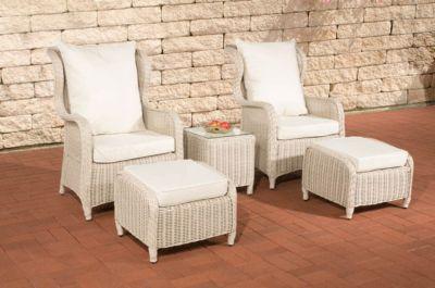 Poly-Rattan Balkon Sitzgruppe TREVISO perlweiß, benötigte Stellfläche 2 x 2 Meter, RUND Rattan, Luxus für 2 Personen