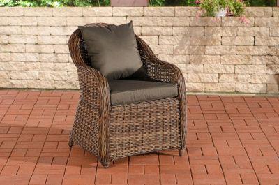 CLP Polyrattan-Sessel FARSUND inklusive Sitzkissen I Robuster Gartenstuhl mit einem Untergestell aus Aluminium I In verschiedenen Farben erhältlich | Wohnzimmer > Sessel > Rattansessel | Polyrattan | CLP