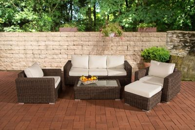 Poly-Rattan Lounge Set MADEIRA 3-1-1, 3er Sofa + 2 Sessel + Hocker + Lounge-Tisch 110 x 60 cm