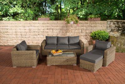 Poly-Rattan Lounge Set MADEIRA 3-1-1, 3er Sofa + 2 Sessel + Hocker + Lounge-Tisch 110 x 60 cm