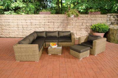 Polyrattan Gartengarnitur ARIANO natura, aus 5 mm Rund-Rattan, mit Aluminiumgestell (5er Sofa + Sessel + Hocker + Tisch