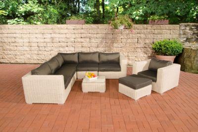 Polyrattan Gartengarnitur ARIANO perlweiß, aus 5 mm Rund-Rattan, mit Aluminiumgestell (5er Sofa + Sessel + Hocker + Tisc