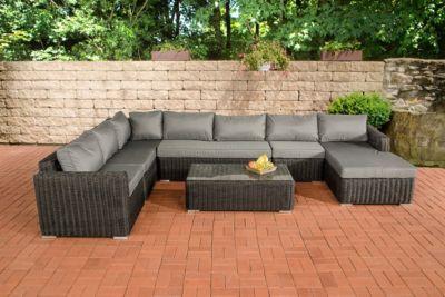 CLP Gartengarnitur TESSERA schwarz aus Polyrattan (6 Sitzplätze) Premiumqualität (5 mm Rund-Rattan) inkl. Polstern & Kissen