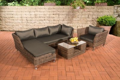 Polyrattan Gartengarnitur MOSS braun-meliert, 5 mm Rund-Rattan, Premiumqualität, 4 Sitzplätze inkl. Sitzpolster & Kissen