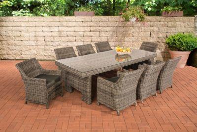 Poly Rattan Sitzgruppe SANDNES XL Grau Meliert, Farbwahl BEZUG, 5 Mm Rund  Rattan (8 Stühle + Tisch Ca. 250 X 110 Cm)