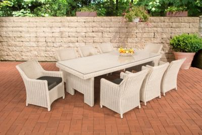 Polyrattan Sitzgruppe SANDNES XL perlweiß (8 Stühle mit Tisch 256 x 109 cm) INKL. Sitzkissen, Premiumqualität: 5mm Rundr
