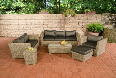 Gartengarnitur MANDAL natura aus Polyrattan (6 Sitzplätze: 3-2-1) Premiumqualität (5 mm Rund-Rattan) inkl. Polstern & Ki