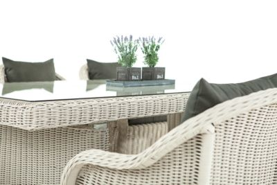 Poly-Rattan Essgruppe Sitzgruppe CANDELA, 6 x Garten-Sessel + Tisch 220 x 100 cm, 5 mm Rund-Geflecht - Preisvergleich