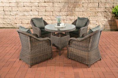 Poly-Rattan Luxus Garten-Sitzgruppe FARSUND, braun-meliert, 5 mm Rund-Rattan (4 Stühle + Tisch rund Ø 90 cm) INKL. beque