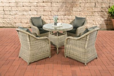 Poly-Rattan Luxus Garten-Sitzgruppe FARSUND, natura, 5 mm Rund-Rattan (4 Stühle + Tisch rund Ø 90 cm) INKL. bequemen, 10