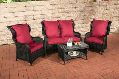 Poly-Rattan Garten Lounge Set TOLEDO, 5 mm RUND-Geflecht, ALU Gestell (2 Sessel + 2er Sofa + Lounge-Tisch 90 x 50 cm)