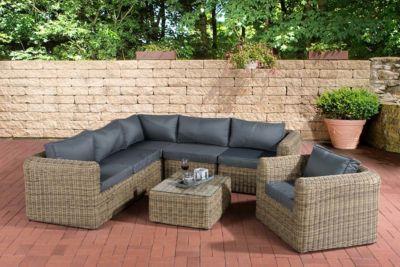 Poly-Rattan Gartengarnitur MARBELLA, 5 mm Rund-Geflecht, Aluminiumgestell (5er Sofa, Sessel, Tisch 70 x 60 cm, 10 cm dicke Polster, Kissen)