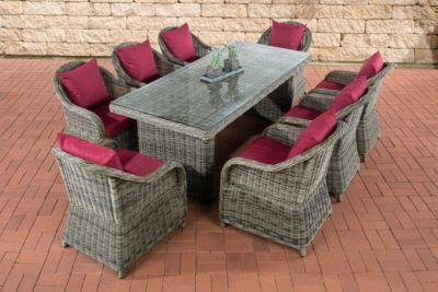 Poly-Rattan Sitzgruppe LAVELLO XL grau-meliert, Tisch 200 x 90 cm + 8 Sessel inkl. Sitz- und Rückenkissen