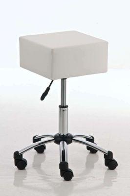 eckiger Arbeits-Hocker HAVANNA mit Rollen, 17 cm dickem Sitzkissen, höhenverstelbar 52 - 67 cm