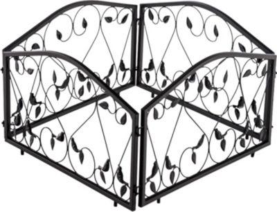 CLP 4er Set Beetzaun BENNETT, Eisen massiv, Breite 4 x 57 cm = 228 cm, Höhe 34 cm, endlos erweiterbar, Beeteinfassung